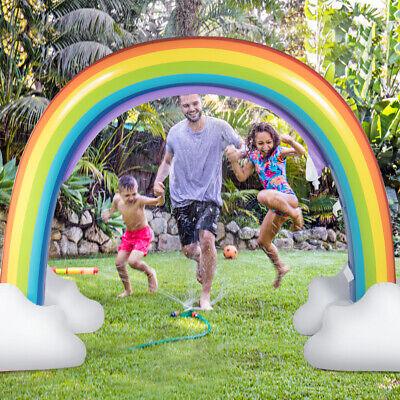 Inflatable Rainbow Sprinkler Backyard Games Summer Outside Water Toy Yard Fun