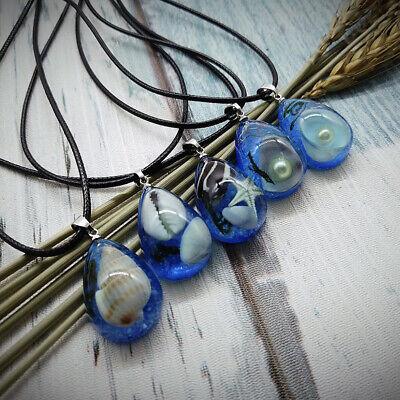 Glühen in der Dunklen Halskette Ozean Meer Schalef Perlen Anhänger Schmuck ()