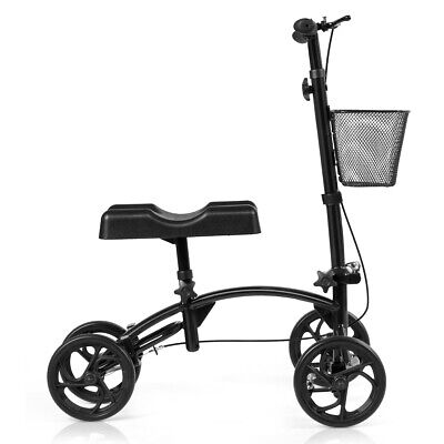 Folding Steerable Knee Walker Medical Knee Scooter W/Dual Br