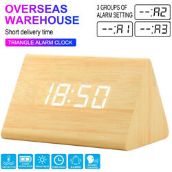 Modern Wooden Wood Digital LED Desk Alarm Clock Thermometer Time Date Xmas GiftL