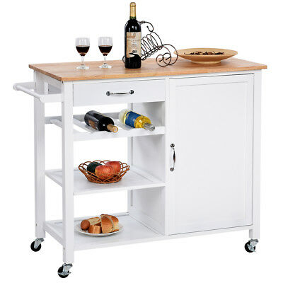 4-Tier Wood Kitchen Trolley Cart Island Storage Cabinet Shelf Drawer W/Casters