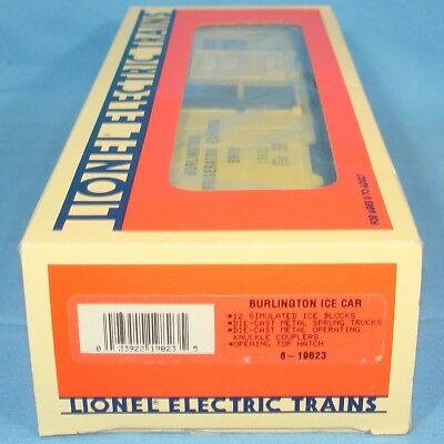 LIONEL O27 ELECTRIC TRAINS ROLLING STOCK #19823 YELLOW BURLINGTON ICE CAR BOXED