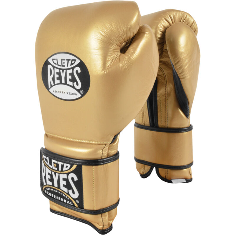 Cleto Reyes Hook and Loop Leather Training Boxing Gloves - Solid Gold