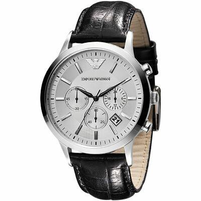 Nuevo Emporio Armani AR2432 Cuero Correa Clásico Cronógrafo Hombre Reloj De Moda