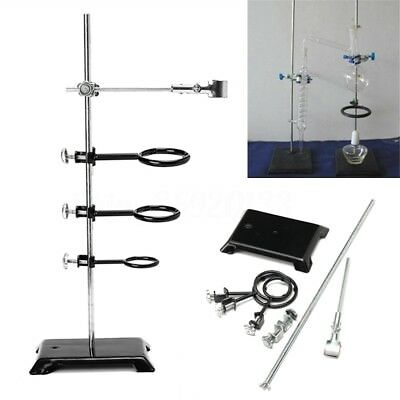 61cm Chemistry Lab Laboratory Supplies Support Ring Stand Base 3 Rings Clamp