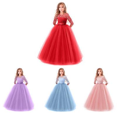 Blumenmädchen Kleid Kinder Prinzessin Lang Abendkleid Festkleid Spitzenkleider