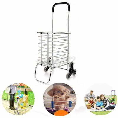 6 Wheels Folding Shopping Cart Large Size Basket Laundry Grocery Travel Climbing