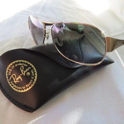 100 Original Ray Ban Sonnenbrille mit goldfarbenen Bügel, Logo, Pilotenbrille