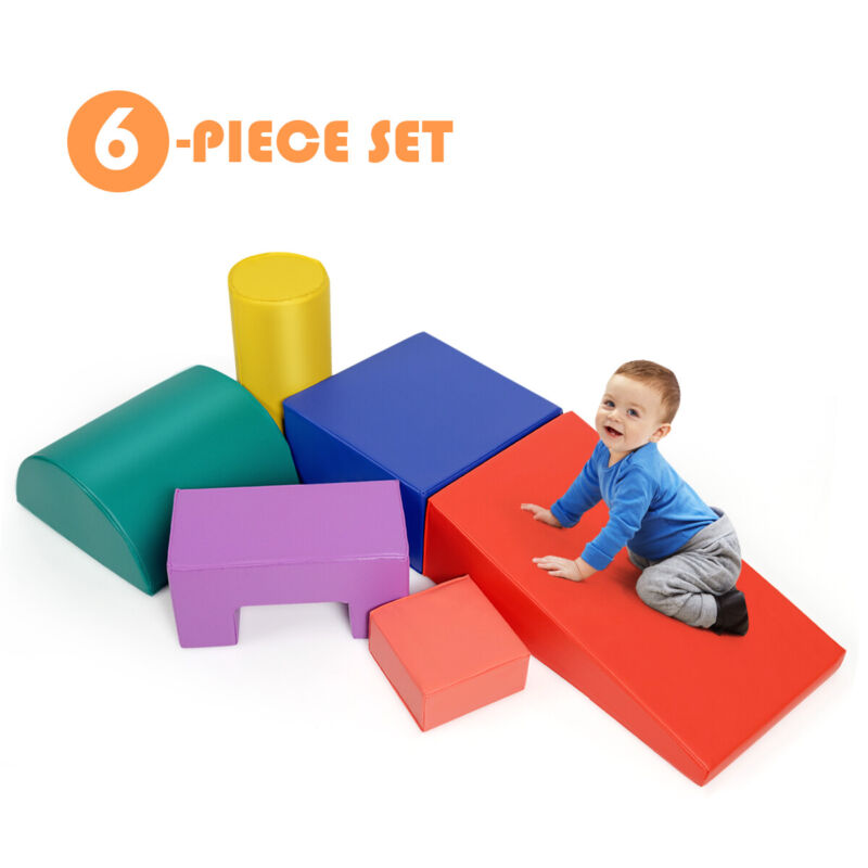 6PCS Climb Crawl Play Set Indoor Kids Baby Toddler Soft Safe Foam Blocks Toys