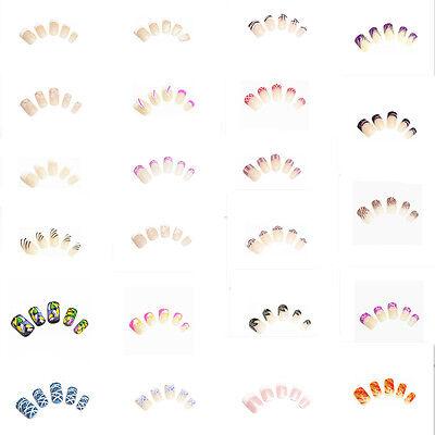 12 Künstliche Nägeln Airbrush Nails French Tips inkl. Nagelpads KP1001