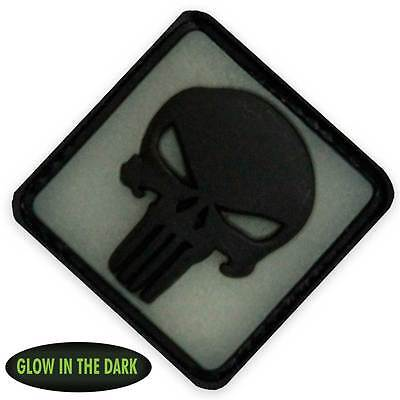 3D Rubber Punisher Patch Back Glow in the Dark Velcro Backed Military Tactical