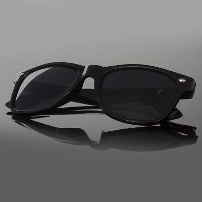 Dark Black Lens Sunglasses Vintage Retro Aviator Men Women Classic Frame (Dark Black Aviator Sunglasses)