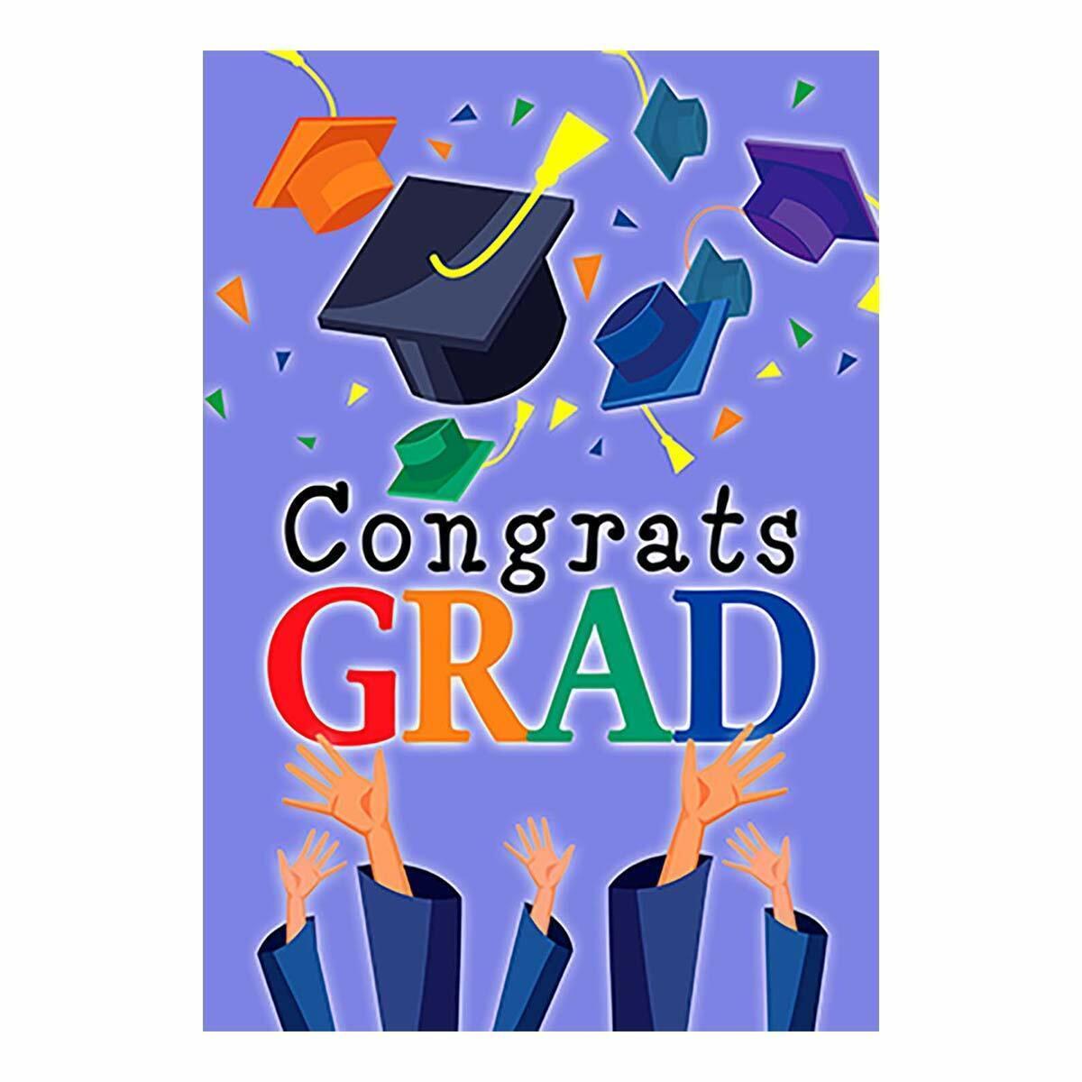 Morigins Congrats Grad Garden Flag Graduation Cap Celebrate