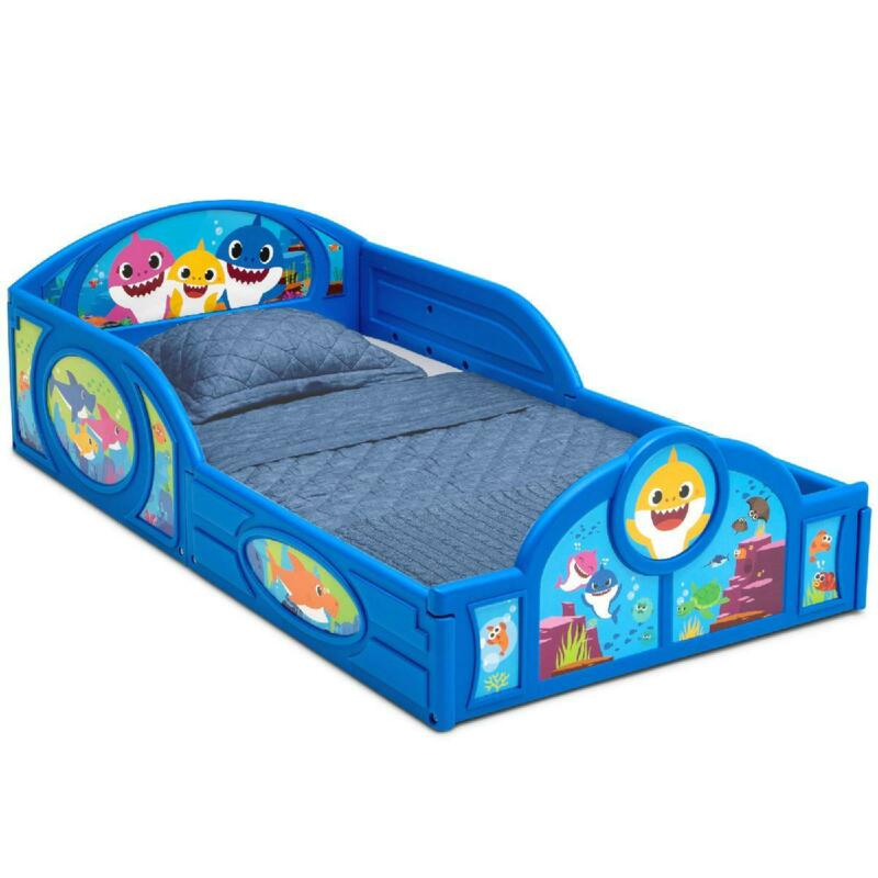 Baby Shark Plastic Sleep and Play Toddler Bed with Attached