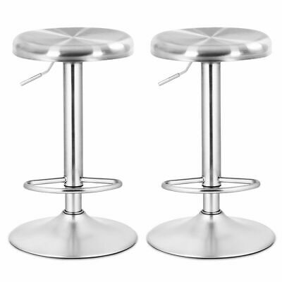 2 Pcs Brushed Stainless Steel Swivel Bar Stool Seat Adjustable Height Round - Bar Height Stainless Steel Top