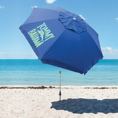 Tommy Bahama Beach Umbrella in Blue Recommended by the Skin Cancer Foundation