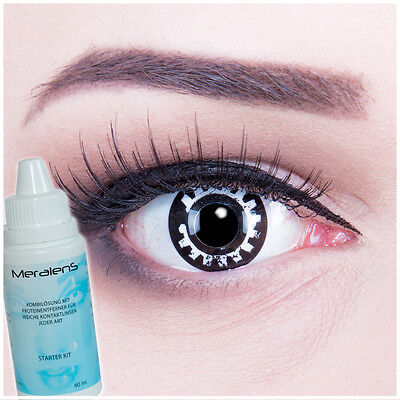 Farbige Halloween Kontaktlinsen Fasching Steam Punk GRATIS Komplettset schwarz