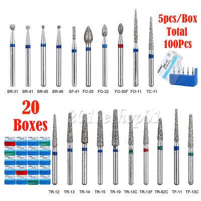100pcs Dental Diamond Burs Drill Fg 1.6mm For High Speed Handpiece 20 Type Usps