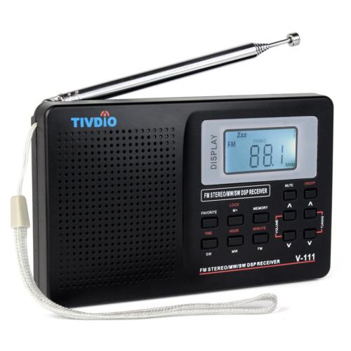 Retekess V111 Portable AM FM Shortwave Radio Alarm Clock Wit