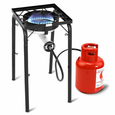 Portable Propane 200,000-BTU Single Burner Outdoor Camp Stove w Adjustable Legs