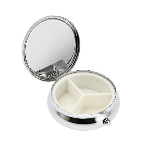 Useful 3Cell Medicine Case Small Cases Metal Round Silver Ta