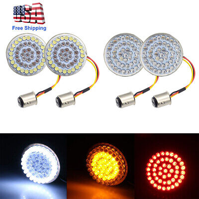 4X LED Turn Signals Light Inserts Smoke Lens Fit for Harley Street Road Glide