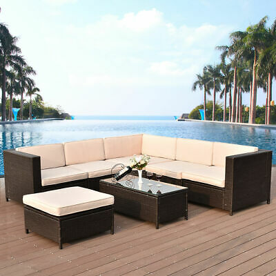 Garden Furniture - 7 PCS Outdoor Rattan Wicker Furniture Set Sectional Cushioned Seat Garden Patio