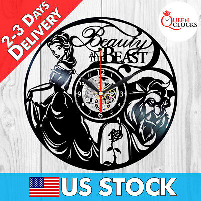 Beauty and the Beast Wall Clock Vinyl Record Home Decor Disney Art Best Gifts ! (Beauty And The Beast Decorations)