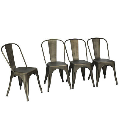 Set of 4 Tolix Style Dining Side Chair Stackable Industrial