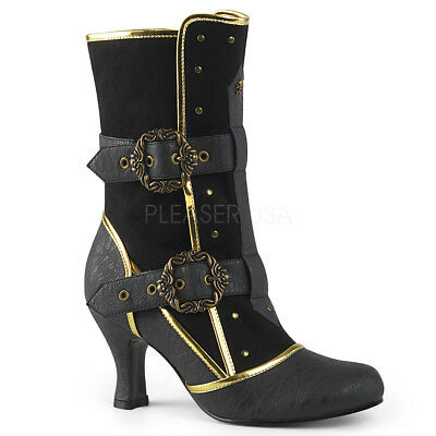 Black Gold Victorian Steampunk Pirate Edwardian Womans Costume Ankle Boots 7 8 9 - Pirate Boots Womens