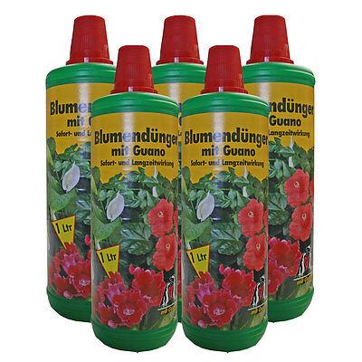 Blumendünger mit Guano Naturdünger Gartendünger 5 x 1 L Flaschen Flüssigdünger
