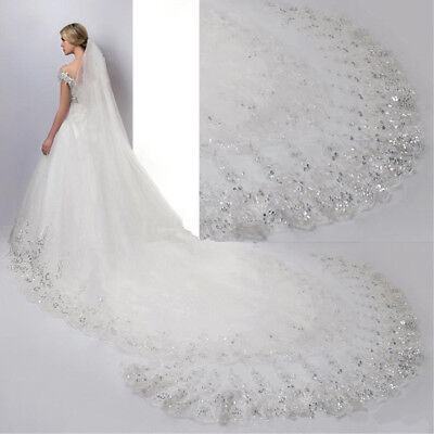 4M White / Lvory Luxury 1T Cathedral Wedding Lace Sequins Long Veil With Comb
