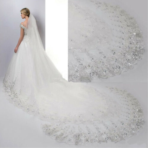 4M White / Lvory Luxury 1T Cathedral Wedding Lace Sequins Long Veil With  D