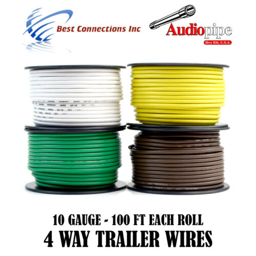 4 Way Trailer Wire Light Cable for Harness LED 4 Rolls 10 Gauge 100 FT Each Roll