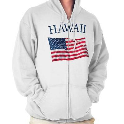 American Flag Sweatshirt (Hawaii United States Patriotic American Flag Zipper Sweat Shirt Zip Sweatshirt)