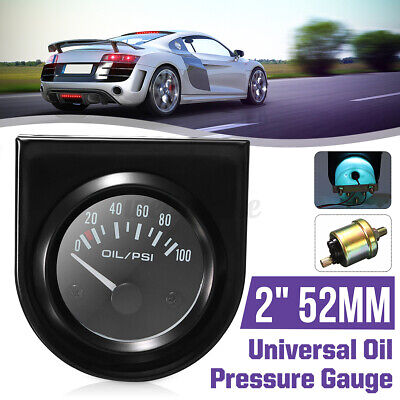 2 inch 52mm Universal Car Pointer Oil Pressure Gauge 0-100 PSI White LED  UK