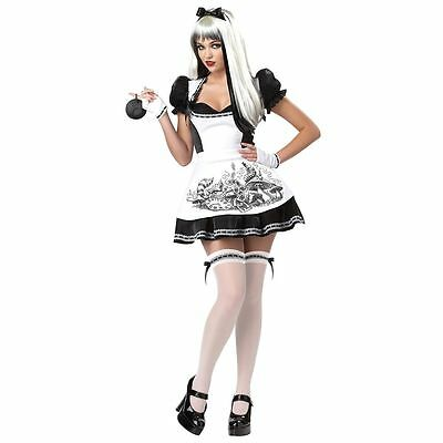 ADULT WOMENS DARK ALICE IN WONDERLAND MOVIE GOTH HALLOWEEN COSTUME COSPLAY S-XL