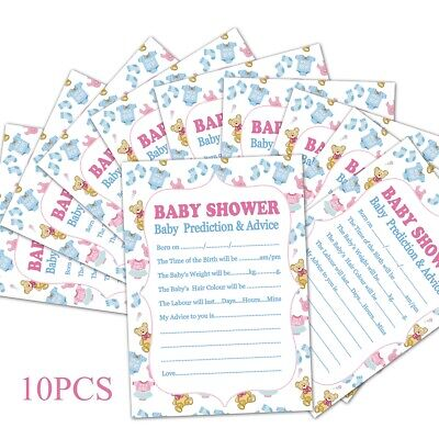 10Pcs Baby Shower Advice Cards Game Prediction Party Activity Supplies Boy - Girl Baby Shower Party Supplies
