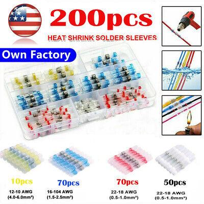 200pcs Heat Shrink Wire Terminals Connectors Waterproof Solder Sleeve Set Kit Us