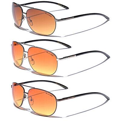HD Vision Amber Blue Blocker Lens Glasses Night Driving Men's Aviator (Amber Sun Glasses)
