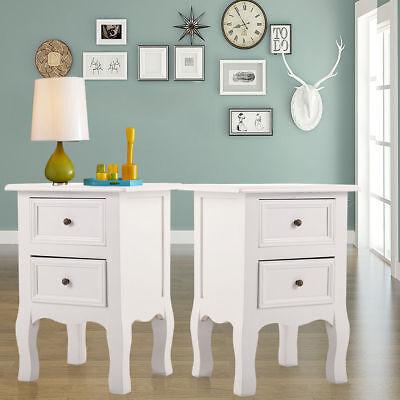 Set of 2 Drawers Bedside Table with White Wooden Door Storage Nightstand 2 Door Nightstand