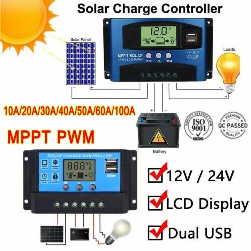 10A-60A PWM Solar Panel Regulator Charge Controller 12V//24V Auto Focu Tracking B
