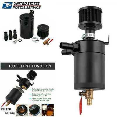 Universal Baffled Oil Reservoir Catch Can Tank with Drain Valve Filter 2-Port US