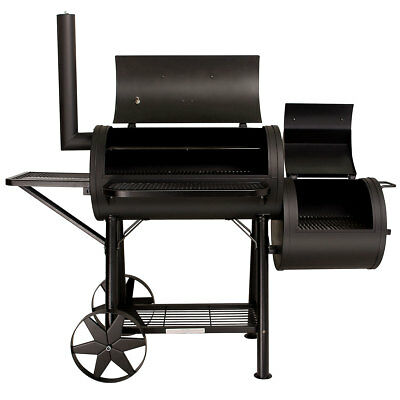 TAINO Yuma Massiver Smoker BBQ GRILLWAGEN Holzkohle Grill 90KG 3,5mm Offset