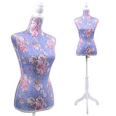 Purple Flower Female Mannequin Torso Dress Form Display W/ White Tripod Stand