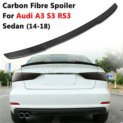 Carbon Fiber Rear Trunk Spoiler Wing FOR 14-18 AUDI A3 S3 RS3 14-18 4 Door Sedan