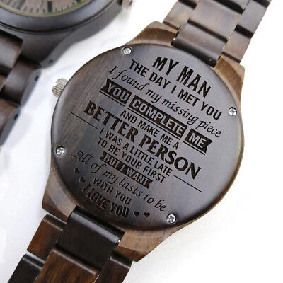 My Man better person Engraved Link Wooden Wristwatch Anniversary Birthday