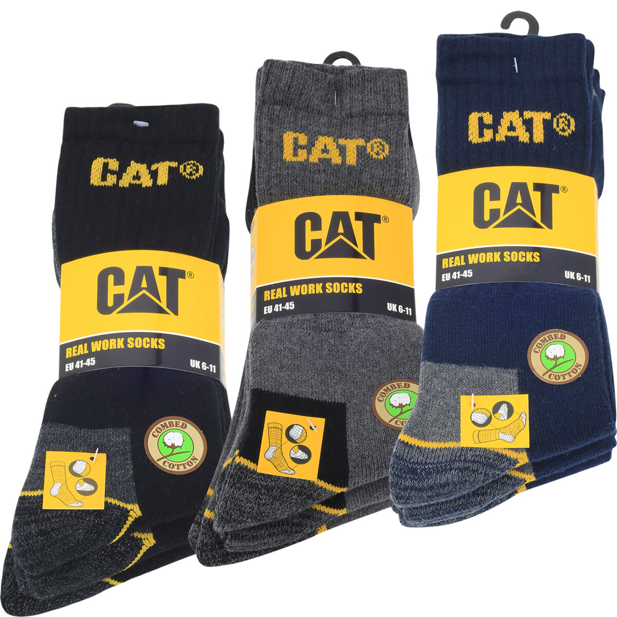 9er CAT SOCKEN CATERPILLAR ARBEITSSOCKEN REAL WORK SOCKS SCHWARZ NAVY GRAU 41-45
