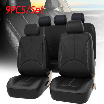 Embroidered Mat Standard - 9Pcs PU Leather Car Seat Cover Full Set Front Rear Seat Cushion Mat Protector  !