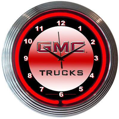 GMC Trucks Neon Clock - GM - Truck - Parts Sales Service - Sierra - Canyon